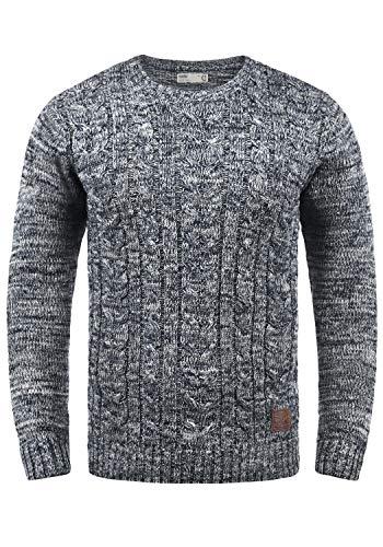 !Solid Philemon Herren Winter Pullover Strickpullover Grobstrick Pullover Zopfstrick mit Rundhalsausschnitt, Größe:S, Farbe:Insignia Blue (1991)