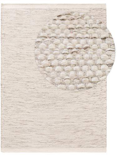 Benuta Tapis en Laine Rocco Cream - 140 x 200 cm - Poils Courts - Tissage Plat - pour Salon, Chambre à Coucher, Salle à Manger ou Chambre d
