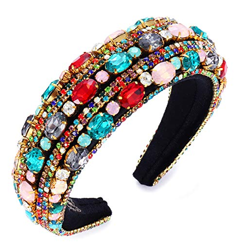 Rhinestone Headband for Women Statement Wide Baroque Bejeweled Padded Diamond Headband Colorful Crystal Elastic Velvet Hairband for Wedding Party (Colorful B)