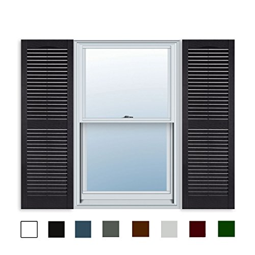 15 Inch x 71 Inch Standard Louver Exterior Vinyl Window Shutters, Black (Pair)