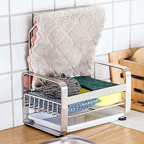 Fregadero Caddy Organizador del fregadero de cocina, sostenedor de la esponja cesta del almacenaje de acero inoxidable fregadero del palero del estante con la toalla de plato bar y bandeja extraíble,