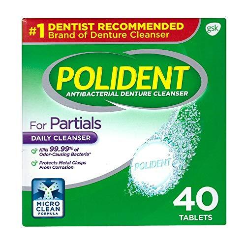 Polident Partials, Antibacterial Denture Cleanser 40 ea (Pack of 3)