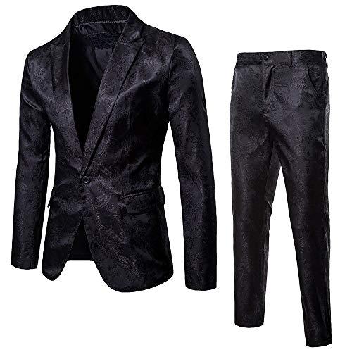 DAY8 Vestito Elegante Uomo Cerimonia per Sposo Matrimonio Affari Festa Completo 2 Pezzi Abito Uomo Cappotto Giacca Blazer + Pantaloni Set Suit Taglie Forti (Nero, XXXL)