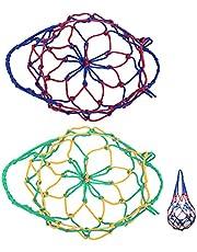 Basketbal Net Tas Voetbal Net Pocket Ball Bag Carry Opbergtas Voetbal Basketbaltas Mesh Tas Basketbal Tas Handgeweven Nettas Draagbare Basketbal Draagnet Volleybal Net Tas Met Enkele Bal 2Pcs