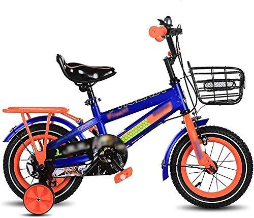 BNGS - Bicicleta de lujo para niño o niña, tamaño opcional de 12 a 18 pulgadas, protección de asiento ajustable (color amarillo, tamaño: 18 a 18 pulgadas), color azul