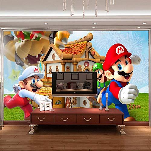 MIYCOLOR Super Mario Fototapete Personalisierte Benutzerdefinierte 3D Wandbild Spiel Tapete kinderzimmer Jungen Schlafzimmer Kunst Raumdekor Cartoon-200x140