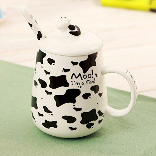 QPSSP Caffè, Creative Cartoon, Ceramica Cup, Milk Cup, Bicchiere, La Tazza, Coperto Cucchiaio,B.