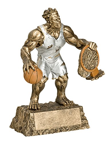 Decade Awards Monster Basketball Trophy - Triumphant Beast Basketball Award - 6.75 Inch Tall - Engraved Plate on Request