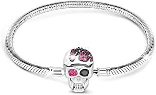 """GNOCE """"Elegant Skull Skull Bracelet with Eye-Catching Black and Fuchsia Crystals Handcrafted Sterling Silver with an Elegant Bangle Fit All Major Brands of Charms Bracelets"""
