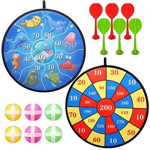 ioutdoor Doppelseitiges Dartscheibe Set für Kinder, Süße Tiere auf der Vorderseite + Reine Zahlen auf der Rückseite, mit 6 Sticky Balls + 6 Sticky Darts, Dart Wurf Spiel Scheibe-14,5 Zoll