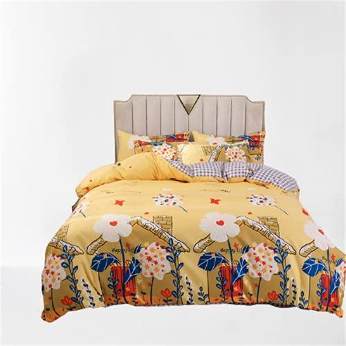 Juego De Ropa De Cama De 4 Piezas Textiles para El Hogar Funda Nórdica Impresa Funda De Almohada De Gran Tamaño Cómoda Y Fácil De Limpiar 180x220cm