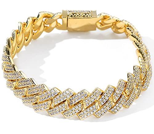 CHXISHOP Hip Hop Bracelet Micro-inlaid Zircon Bracelet Men's Bar Cuban Chain 14mm Zircon Cuban Bracelet gold-7 inch