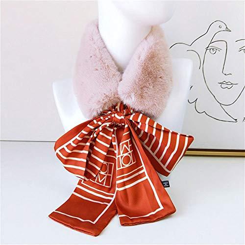 Bufanda Elegante caliente del Faux del invierno de piel de conejo collar de la bufanda del abrigo del mantón de las mujeres Negro largo flaco de la tela cruzada de seda bufandas diadema for el pelo Pa