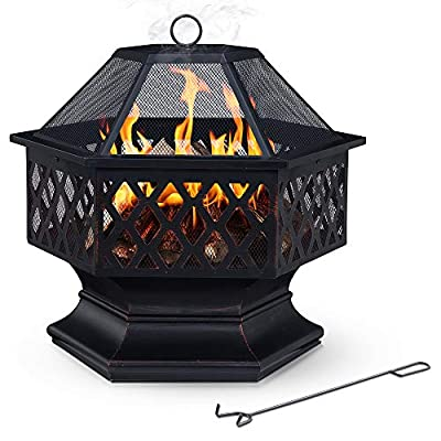 Fineway. Stunning Large Hexagonal Firepit Fire Pit Bowl Basket Patio Heater Log Burner With BBQ Barbeque Grill, Spark Guard, Poker Stick - Garden - For Logs and Charcoal by Fineway.