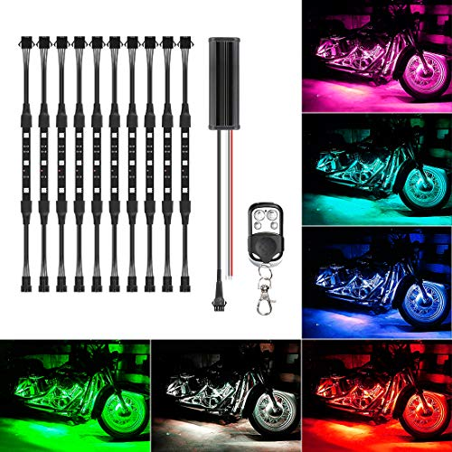 SUPAREE 10Pcs Led Light Kits Multi-Color Wireless Remote Control Motorcycle Atmosphere Lamp RGB Flexible Strips Ground Effect Light for Motorcycle