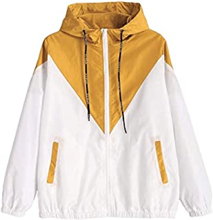 WUFAN Womens Stylish Pocketed Color Block Hooded Tunic Fleece Jacket