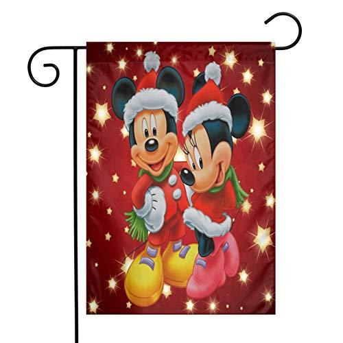 Caelpley Welcome Decorations Garden Flag Vertical Double Sided 12 X 18 Inch, House Farmhouse Yard Seasonal Outdoor Flags Merry Christmas Holiday Decor, Disney Mickey Mouse and Minnie Christmas
