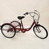 Triciclo para adultos de 24 pulgadas + luz + cesta, triciclo de compras, bicicleta para adultos, cómodo para deportes al aire libre (rojo)