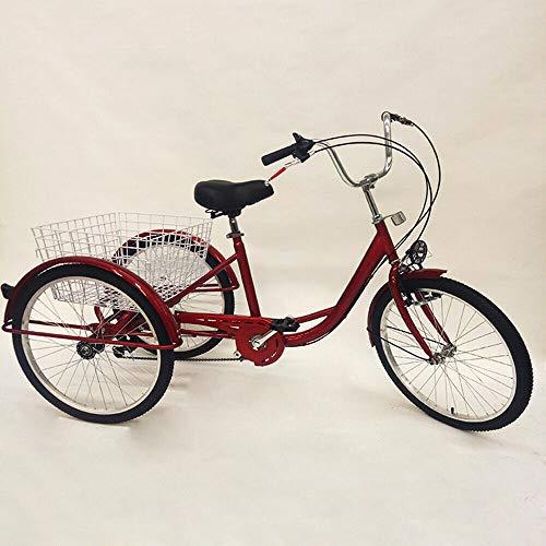 BTdahong 24 Zoll 6 Speed 3 Rad Dreirad für Erwachsene Cruiser Fahrrad Einkaufs Lastenfahrrad mit Korb + Licht, Rot