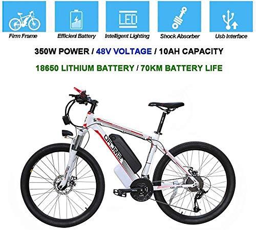 Qinmo Bicicletta elettrica, Electric Mountain Bike 26 Pollici MTB Tyre E-Bike 10AH Li-Batteria 21 velocità Beach Cruiser Resistenza Bassa Urbana Commute Bicicletta con LED Integrato e Faro Horn