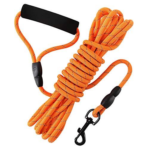 Hunde-Karo-Kordel, 6 m, schwimmfähiges, langes, reflektierendes Seil für Hundetraining, mit komfortablem Griff für Wandern, Camping, Spazierengehen