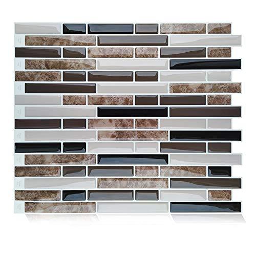 GuoQiang Zhou Adhesivo 3D para azulejos de pared, autoadhesivo, para cocina, cuarto de baño, mosaico, vinilo, 10 unidades