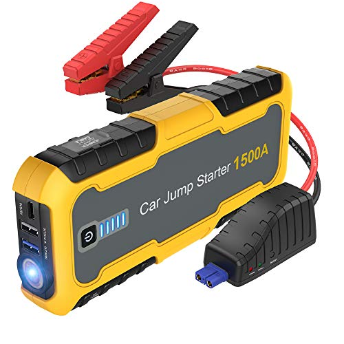 Car Jump Starter 1500A Peak (All Gas, up to 6.5L Diesel Engine), Portable Battery Booster, 12V Lithium Jump Pack, Quick Charge 3.0, Type-C Power Bank