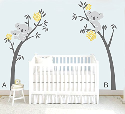 MAFENT Twee koalas (moeder en kinderen) op een boom en een andere op de andere Grote boom muur sticker familie muur stickers voor Kwekerij kinderen Babykamer Decoratie 100