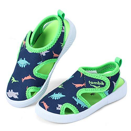 tombik Toddler Boy Shoes Kids Summer Beach Water Sandals for Pool Swim Blue Green Dinosaur 7 US Toddler