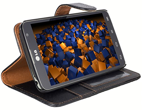 mumbi Tasche Bookstyle Hülle kompatibel mit LG G Pro Lite Dual Hülle Handytasche Hülle Wallet, schwarz