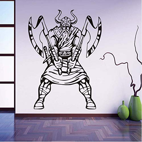 Knncch Vikingo Pegatinas De Pared Norte Hombre Guerrero Interior Arte Murales Extraíble Auto Adhesivo Papel Pintado Sala De Estar Calcomanías Decoración Para El Hogar