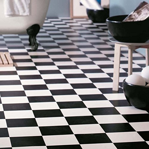 Cushion Vinyl Flooring Sheet Lino Checkerboard Black and White Kitchen Bathroom Tile Effect Roll - Multiple Sizes Available (1.5m x 2m)