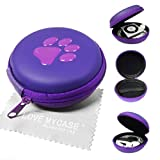 Two-Tone Purple PAW Print MP3 Player Case, Cover, Shell - Clamshell Style with Zip Enclosure for Apple iPod Shuffle 2nd / 3rd / 4th Generation