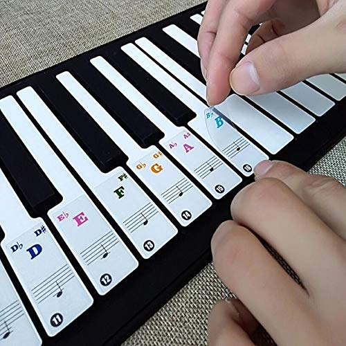 Review 49/61/ 76/88 Key Keyboards Transparent & Removable Piano Stickers (White)