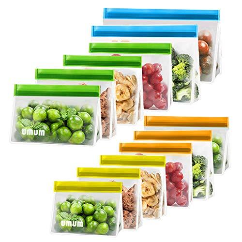 Reusable Food Storage Bags 12 Pack BPA FREE Reusable Freezer Bags2 Reusable Gallon Bags  4 Reusable Lunch Bags  3 Reusable Sandwich Bags  3 Reusable Snack BagsThick Leakproof Bags