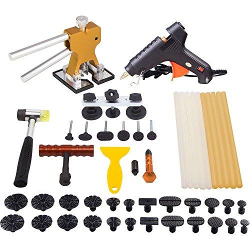 MOOKIS Kit per la Riparazione delle Ammaccature dei Veicoli con Sistema, 41 Pezzi, con Pistola Incollatrice a Caldo, Estrattore a Ponte, Martello di Gomma, Tirabolli e così Via
