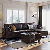 HONBAY Faux Leather Sectional Sofa Couch Set L Shaped Couch Sofa Set for Living Room Reversible Sofa Sectional with Storage Ottoman for Small Apartment (Sectional+Hydraulic Rod Ottoman)