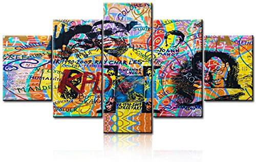 Estirar en el marco Graffiti de arte pop Colorido personas felices sonriendo Póster de lienzo Arte de la pared Cuadros modulares Bar Decoración de pared (59.1 'x31.5') 150x85cm Graffiti art