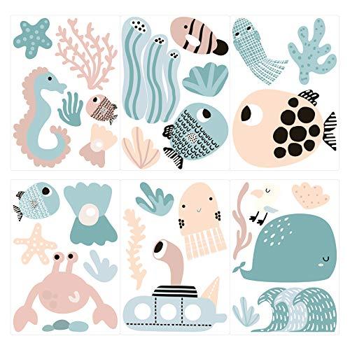 dekodino® Wandtattoo Kinderzimmer Unterwasserwelt mit Meerestieren in Farbe Set