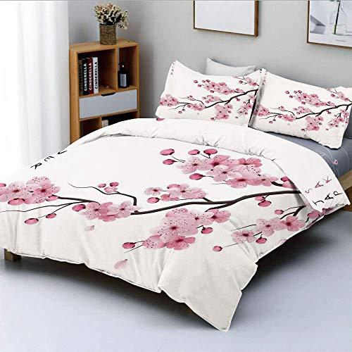 Juego de funda nórdica, ilustración de ramas de cerezo japonés con flores florecientes Primavera decorativa Boho ArtDecorative Juego de cama de 3 piezas con 2 fundas de almohada, rosa blanco, el mejor