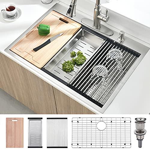 33 Inch Topmount Workstation Drop In Stainless Steel Kitchen Sink - BoomHoze Handmade Deep 16 Gauge R10 Stainless Steel Single Bowl Drop In Kitchen Sink