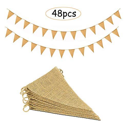 11M/48 Pcs Banderas Triangulares, ideal para Decoración de fiestas de Cumpleaños, Ceremonias, Cocinas o Dormitorios,Decoración Fiesta Cumpleaños Vintage Boda Bautizo Jardín Hogar Decoración