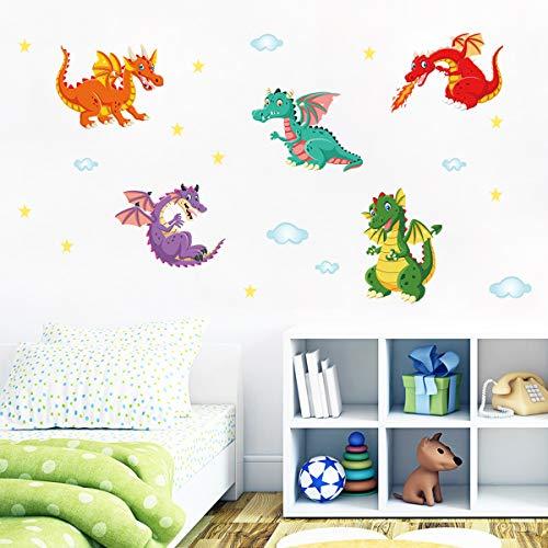 decalmile Wandtattoo Bunter Drachen Wandaufkleber Wolke Star Wandsticker Babyzimmer Kinderzimmer Spielzimmer Wanddeko