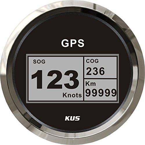 KUS Wasserdichte Digitale GPS Tacho Kilometerzähler Mit Hintergrundbeleuchtung Für Schiff Boot Yacht 85mm 9-32V(Schwarz)