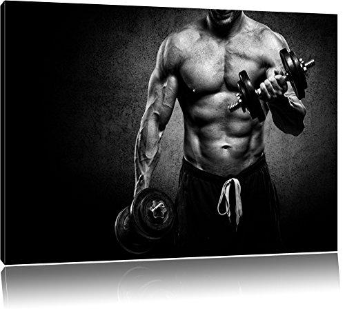 Dark Trainierender Bodybuilder schwarz/weiß Format: 120x80 cm auf Leinwand, XXL riesige Bilder fertig gerahmt mit Keilrahmen, Kunstdruck auf Wandbild mit Rahmen, günstiger als Gemälde oder Ölbild, kein Poster oder Plakat