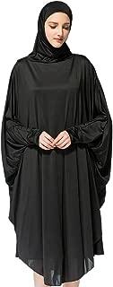 Zhengpin Women's Muslim Solid Batwing Maxi Hijab Prayer Dress for Hajj Umrah