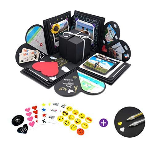 REINE HERZENSSACHE Kreative Überraschung Box (Stifte, Sticker) Explosionsbox Geburtstag Überraschungsbox Surprise Explosion Box Fotobox zum Selbstgestalten DIY Geschenkbox Aufklappbare Geschenkbox