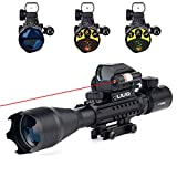 UUQ 4-16x50 Tactical Rifle Scope Red/Green Illuminated Range Finder Reticle W/ RED Laser Sight and Holographic Reflex Dot Sight