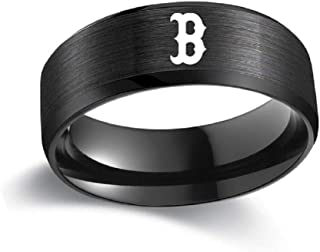 FlyStarJewelry Boston Red Sox Ring Baseball Black Titanium Steel Men Sport Ring Band Size 6-13