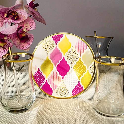 Juego de té de 12 piezas para 6 personas, platos de té de dibujo impreso, vasos dorados, vasos de regalo